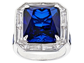 Pre-Owned Blue Lab Created Sapphire Rhodium Over Silver Ring  14.88ctw