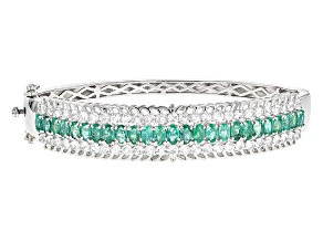 Pre-Owned Green Emerald Rhodium Over Sterling Silver Hinged Bangle Bracelet 11.04ctw