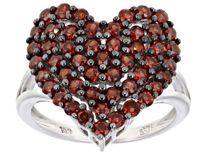 Pre-Owned Red Garnet Rhodium Over Sterling Silver Ring 1.96ctw