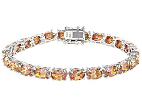 Pre-Owned Multi color Northern Lights™ Quartz Rhodium Over Silver Tennis Bracelet 15.91ctw