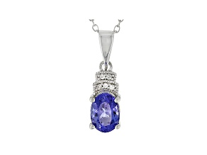 Pre-Owned Blue Tanzanite Rhodium Over Sterling Silver Pendant With Chain .90ctw