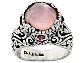 Pre-Owned Pink Morganite Color Quartz Triplet Silver Ring .92ctw