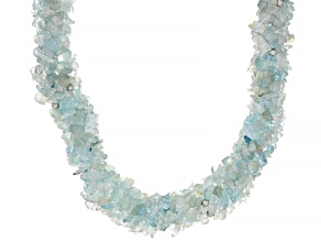 Pre-Owned Blue Aquamarine Chip rhodium over sterling silver necklace