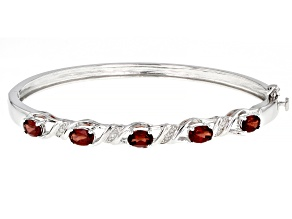 Pre-Owned Red Garnet Rhodium Over Sterling Silver Bangle Bracelet 2.60ctw