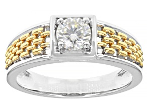 Pre-Owned Moissanite platineve and 14k yellow gold over platineve two tone mens ring .80ct DEW.