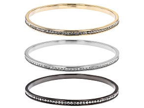 Pre-Owned White Crystal Multi Tone Set of 3 Bangle Bracelets