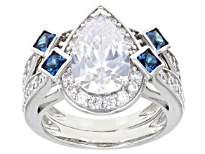 Pre-Owned White And Blue Cubic Zirconia Rhodium Over Sterling Silver Ring With Band 8.55ctw