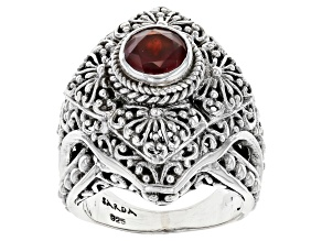 Pre-Owned Red Hessonite Garnet Sterling Silver Solitaire Ring 1.09ct