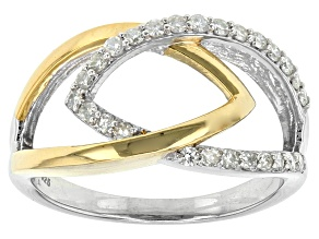 Pre-Owned Moissanite Fire® .26ctw DEW Round Platineve™ And 14k Yellow Gold Over Silver Two Tone Ring