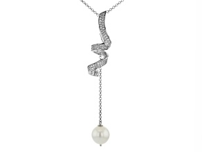 Pre-Owned White Cultured South Sea Pearl & Topaz Rhodium Over Sterling Silver Pendant With Chain
