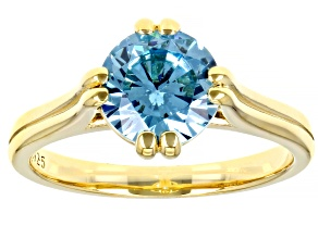 Pre-Owned Blue Cubic Zirconia 18K Yellow Gold Over Sterling Silver Ring 3.18ctw