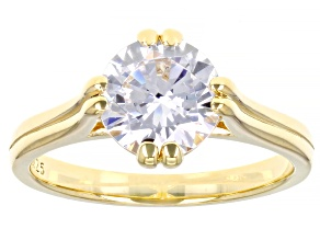Pre-Owned White Cubic Zirconia 18K Yellow Gold Over Sterling Silver Ring 3.45ctw