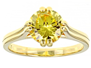 Pre-Owned Yellow Cubic Zirconia 18K Yellow Gold Over Sterling Silver Ring 3.40ctw