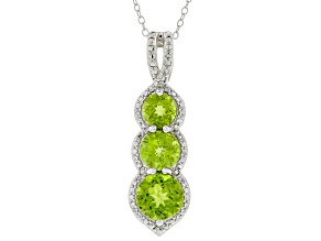 Pre-Owned Green Peridot Rhodium over Sterling Silver Pendant with Chain 4.34ctw