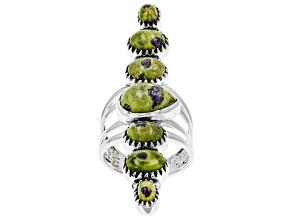 Pre-Owned Green Tasmanian Serpentine Sterling Silver Ring