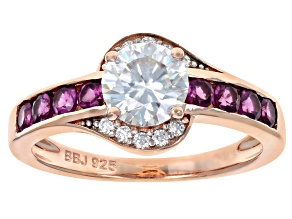 Pre-Owned Moissanite And Grape Color Garnet 14k Rose Gold Over Silver Ring 1.10ctw DEW.