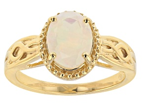 Pre-Owned Multicolor Ethiopian Opal 18K Yellow Gold Over Sterling Silver Ring 0.85ctw