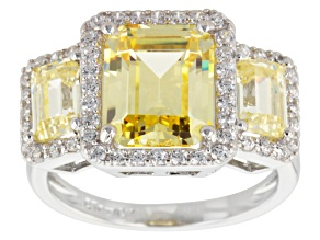 Pre-Owned Yellow And White Cubic Zirconia Rhodium Over Sterling Silver Ring 10.60ctw (5.61ctw DEW)