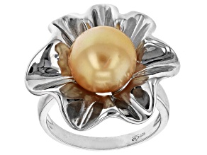 Pre-Owned Golden Cultured South Sea Pearl 10-11mm  Rhodium Over Sterling Silver Ring