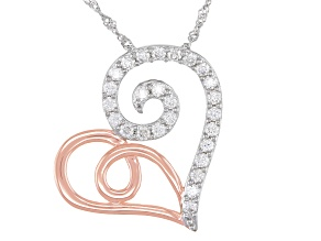 Pre-Owned Moissanite platineve and 14k rose gold over platineve pendant .78ctw DEW.