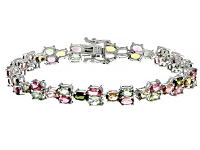 Pre-Owned Multicolor tourmaline rhodium over silver bracelet 10.56ctw