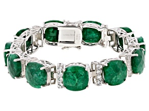 Pre-Owned Green Beryl Rhodium Over Silver Bracelet 62.50ctw