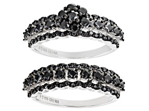 Pre-Owned Black Spinel Rhodium Over Sterling Silver Set of 2 Rings 1.95ctw