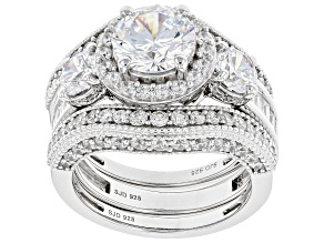 Pre-Owned White Cubic Zirconia Rhodium Over Sterling Silver Ring Set of 3 6.80ctw (4.53ctw DEW)