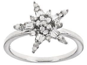Pre-Owned White Diamond Rhodium Over Sterling Silver Star Cluster Ring 0.25ctw