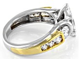 Pre-Owned White Cubic Zirconia Rhodium And 18K Yellow Gold Over Sterling Silver Ring 4.55ctw