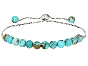 Pre-Owned Blue Turquoise Rhodium Over Sterling Silver Adjustable Bolo Bracelet