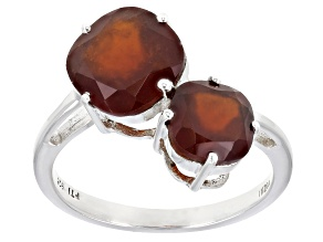 Pre-Owned Hessonite Rhodium Over Silver Ring 4.00ctw