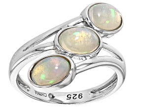 Pre-Owned Ethiopian Opal Rhodium Over Silver 3- Stone Ring 7x5mm