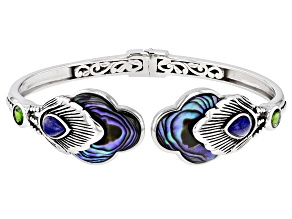 Pre-Owned Multicolor Abalone Shell Rhodium Over Sterling Silver Feather Cuff Bracelet