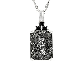 Pre-Owned Black Tourmalinated Quartz Rhodium Over Silver Pendant With Chain 10.50ctw