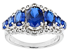 Pre-Owned Lab Created Blue Spinel Rhodium Over Sterling Silver Ring 2.53ctw