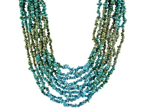 Pre-Owned  Blue & Green Turquoise Nugget Rhodium Over Silver 10-Strand Necklace