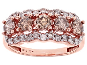 Pre-Owned Champagne And White Diamond 10k Rose Gold Wide Band Ring 1.55ctw