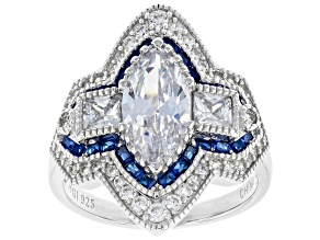Pre-Owned White Cubic Zirconia And Lab Created Blue Spinel Rhodium Over Silver Ring 4.44ctw