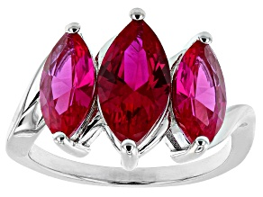 Pre-Owned Red Lab Created Ruby Rhodium Over Sterling Silver 3-Stone Ring 3.79ctw
