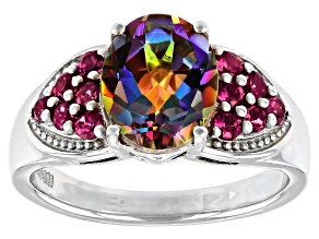 Pre-Owned Multi-Colored Northern Lights(TM) Quartz Rhodium Over Sterling Silver Ring 2.63ctw