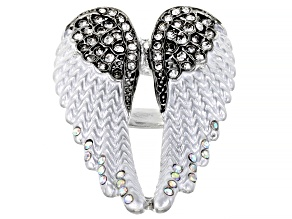 Pre-Owned Silver Tone White Crystal Heart Shaped Angel Wing Ring