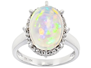 Pre-Owned Multi Color Ethiopian Opal Rhodium Over 10k White Gold Ring