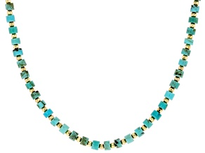 Pre-Owned Green & Blue Kingman Turquoise Sterling Silver Necklace