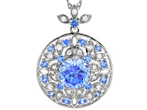 Pre-Owned Arctic Blue And White Zirconia From Swarovski ® Rhodium Over Sterling Pendant With Chain 8
