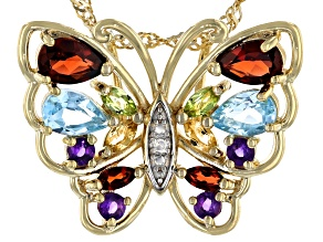 """Pre-Owned Multi Gemstone 18k Yellow Gold Over Sterling Silver Butterfly Pendant With 18"""" Chain 1.67c"""