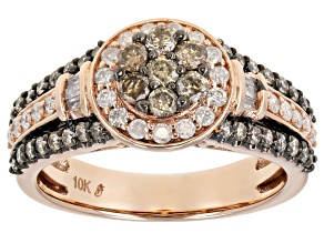 Pre-Owned Champagne And White Diamond 10k Rose Gold Halo Ring 1.00ctw
