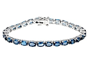 Pre-Owned  London Blue Topaz Rhodium Over Sterling Silver Tennis Bracelet 13.50ctw