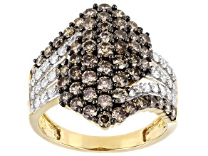 Pre-Owned Champagne & White Diamond 10K Yellow Gold Cluster Ring 2.33ctw
