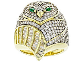 Pre-Owned White Cubic Zirconia And Emerald Simulant 18K Yellow Gold Over Silver Owl Ring 4.76ctw